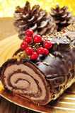 Yule log cake, traditional of christmas time Stock Image