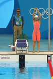 Yulia Efimova of Russia before the Women`s 200m Breaststroke semifinal of the Rio 2016 Olympic Games Stock Photos