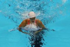 Yulia Efimova van Rusland tijdens de halve finale van de Vrouwen` s 200m Schoolslag van Rio 2016 Olympische Spelen Royalty-vrije Stock Afbeeldingen