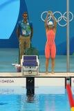 Yulia Efimova van Rusland vóór de halve finale van de Vrouwen` s 200m Schoolslag van Rio 2016 Olympische Spelen Stock Foto's