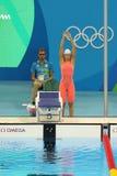 Yulia Efimova von Russland vor dem Frauen ` s 200m Brustschwimmenhalbfinale des Rios 2016 Olympische Spiele Stockfotografie
