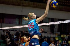 Yulia Merkulova atack. Spiker of Dynamo Moscow Royalty Free Stock Photography