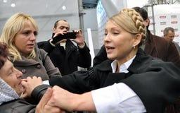 Yulia Tymoshenko op een bezoek aan Chortkiv_2 Stock Foto