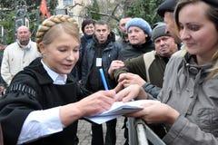 Yulia Tymoshenko op een bezoek aan Chortkiv_3 Stock Foto's