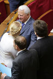 Yulia Tymoshenko in Ukrainian Parliament, 27 November 2014, Kiev, Ukraine. Ex-Presidents of Ukraine Leonyd Kravchuk (Left) and Yulia Tymoshenko (Right) during Royalty Free Stock Images