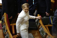 Yulia Tymoshenko in Ukrainian Parliament, 27 November 2014, Kiev, Ukraine. Yulia Tymoshenko before taking  oath as newly elected people's deputies of Ukraine Royalty Free Stock Image
