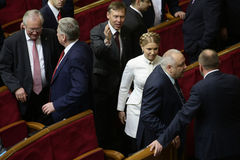 Yulia Tymoshenko in Ukrainian Parliament, 27 November 2014, Kiev, Ukraine. Yulia Tymoshenko before taking  oath as newly elected people's deputies of Ukraine Stock Photography