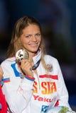 Yuliya Efimova ( Russia). BARCELONA – AUGUST  2: Yuliya Efimova ( Russia ) )  in Barcelona FINA World Swimming Championships on August 2, 2013 in Barcelona Royalty Free Stock Image