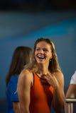 Yuliya Efimova ( Russia). BARCELONA – AUGUST  3: Yuliya Efimova ( Russia ) after broken the  world record in Barcelona FINA World Swimming Championships on Royalty Free Stock Photography