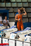 Yuliya Efimova ( Russia). BARCELONA – AUGUST  3: Yuliya Efimova ( Russia ) after broken the  world record in Barcelona FINA World Swimming Championships on Stock Image