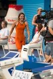 Yuliya Efimova ( Russia). BARCELONA – AUGUST  3: Yuliya Efimova ( Russia ) after broken the  world record in Barcelona FINA World Swimming Championships on Stock Photos