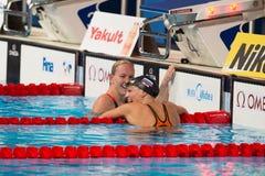 Yuliya Efimova ( Russia). BARCELONA – AUGUST  3: Yuliya Efimova ( Russia ) after broken the  world record in Barcelona FINA World Swimming Championships on Royalty Free Stock Photos