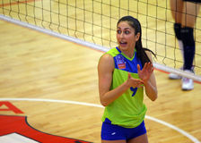 Yuliya Stoyanova. Women volleyball player pictured during the Romanian Women Volleyball Cup quarterfinal game between CSM Bucharest and Stiinta Bacau Stock Photography