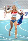 Yuliya Zarudneva of Russia. Celebrates gold on the Women 3000m steeplechase during the 20th European Athletics Championships at the Olympic Stadium on July 30 Royalty Free Stock Photos