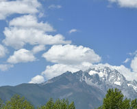 The Yulong Jokul. Is 5596 meters above sea level.It's 15 kilometers north to Lijiang。The foot of the mountain reach to the Jinsha River. Still heavily Stock Photo