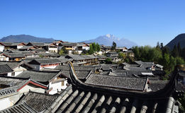 The Yulong Jokul and Old Town of Lijiang. The Yulong Jokul is 5596 meters above sea level.It's 15 kilometers north to Old Town of Lijiang。The foot of the Royalty Free Stock Photography