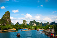 Yulong River in Guilin. Yulong River landscape in yangshuo guilin China.  Visitors Drifting and Enjoy the scenery in a boat Stock Image