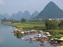 Yulong river near Karst Mountains Royalty Free Stock Photography
