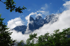 Yulong snow mountain in west china. Yulong snow mountain in Lijiang,west China's Yunnan  province,which is one of  the most well-known mountains in China,and a Royalty Free Stock Images