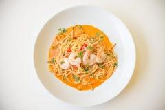 Yum di gatto degli spaghetti Fotografie Stock