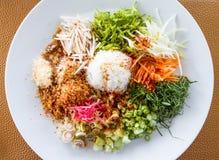 Yum di Kao, riso tailandese del sud di stile con le erbe Fotografie Stock