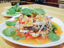 Yum Poo Maa,Thai spicy salad with raw crab. Royalty Free Stock Photo