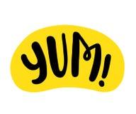 Yum Text Nur ein einziges Wort Bedruckbares grafisches T-Stück Designgekritzel für Druck Vektor-bunte Karikaturart lizenzfreie abbildung