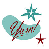 Yum Text Retro Word avec des étoiles Photographie stock libre de droits