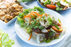 Yum woon sen or spicy noodle salad food thai style Royalty Free Stock Photos