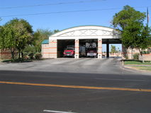 Yuma fire house. Fire trucks waiting at the station Stock Image