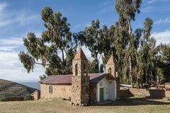 Yumani社区的教会Isla的喀喀湖的台尔Sol 库存图片