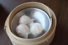 Yumcha , dim sum in bamboo steamer Stock Photos