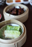Yumcha , dim sum in bamboo steamer Royalty Free Stock Photography