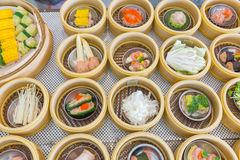 Yumcha or Dim sum, Chinese cuisine style steam food. Served in bamboo stack dish stock photos