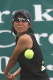 Yumi Nakano. Japan tennis player, Yumi Nakano, try to hit the ball when competing in international tennis Federation (ITF) So Good Open in Solo, central java stock photos