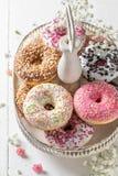 Yummy και φρέσκα donuts έτοιμα να φάνε στοκ εικόνες