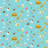 Yummy άνευ ραφής σχέδιο πρόχειρων φαγητών Στοκ Εικόνες