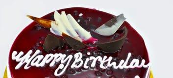 Yummy κέικ γενεθλίων βακκινίων, χρόνια πολλά, χρόνος να γιορτάσει, που απομονώνεται στο άσπρο υπόβαθρο Στοκ εικόνα με δικαίωμα ελεύθερης χρήσης