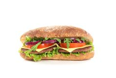 Yummy σάντουιτς με το τυρί στο λευκό στοκ εικόνες με δικαίωμα ελεύθερης χρήσης