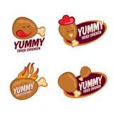 Yummy τηγανισμένο διανυσματικό καθορισμένο σχέδιο λογότυπων κοτόπουλου Στοκ φωτογραφία με δικαίωμα ελεύθερης χρήσης
