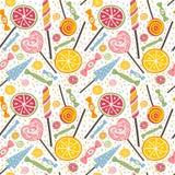 Yummy безшовная картина с конфетами и леденцами на палочке Стоковое Изображение RF