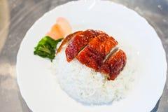 Yummy зажаренные в духовке утка и рис с имбирями и овощами стоковые изображения