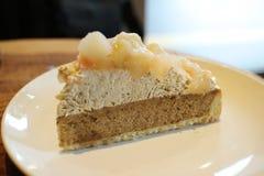 yummy пирог персика на таблице Стоковые Изображения