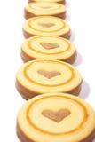 Yummy!!! Biscotti su priorità bassa bianca immagini stock