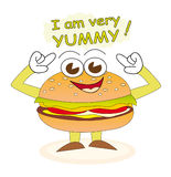 Yummy burger. Cheerful burger cartoon character who says that he is very yummy Royalty Free Stock Photo