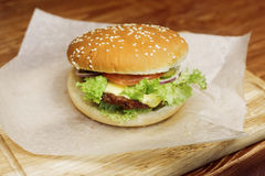 Yummy burger. serving cheeseburger or hamburger with salad and t Royalty Free Stock Photo