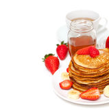Yummy buttermilk pancakes Royalty Free Stock Photos