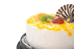 Yummy cake on white with grape orange kiwifruit and chocolat, clipping path includede Stock Images