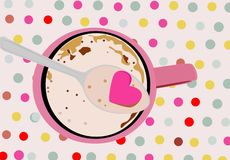 Yummy cappuccino mug with a spoon vector illustration