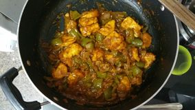 Yummy capsicum paneer. Cooked Capsicum Paneer Stock Photos
